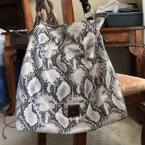 Snakeskin leather hobo